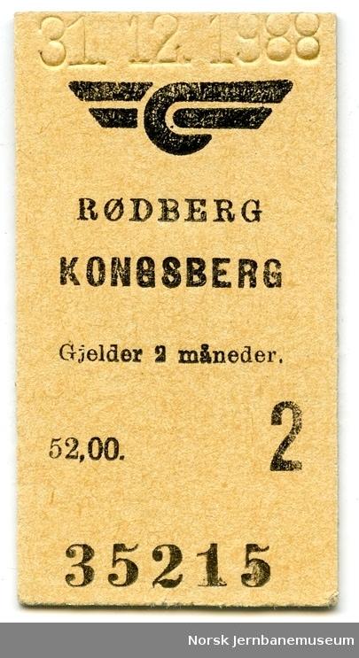 Billett Rødberg-Kongsberg, 2. klasse, siste tur 31.12.1988, ikke klippet