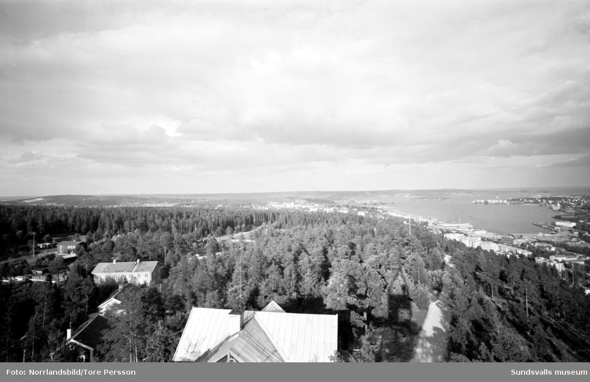 Bildserie tagen från utkikstornet på Norra berget över staden och hamnen.