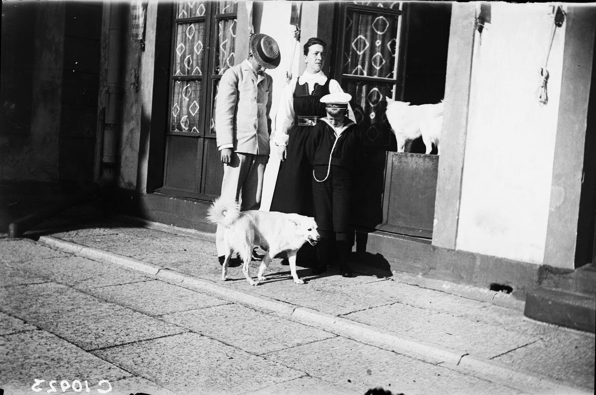 Drottning Victorias bilder.Gustav Adolf med mamma Victoria och prins Erik på Tullgarnd slott. De båda hundarna Ripp och Rapp får också vara med på bild. Victoria iförd Tullgarnsdräkt.