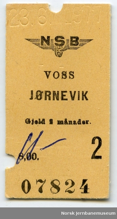 Billett Voss-Jørnevik, 2. klasse