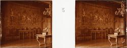 """Stereobild av väntsalen i Chateau de Pau. """"Salon d'attente"""""""