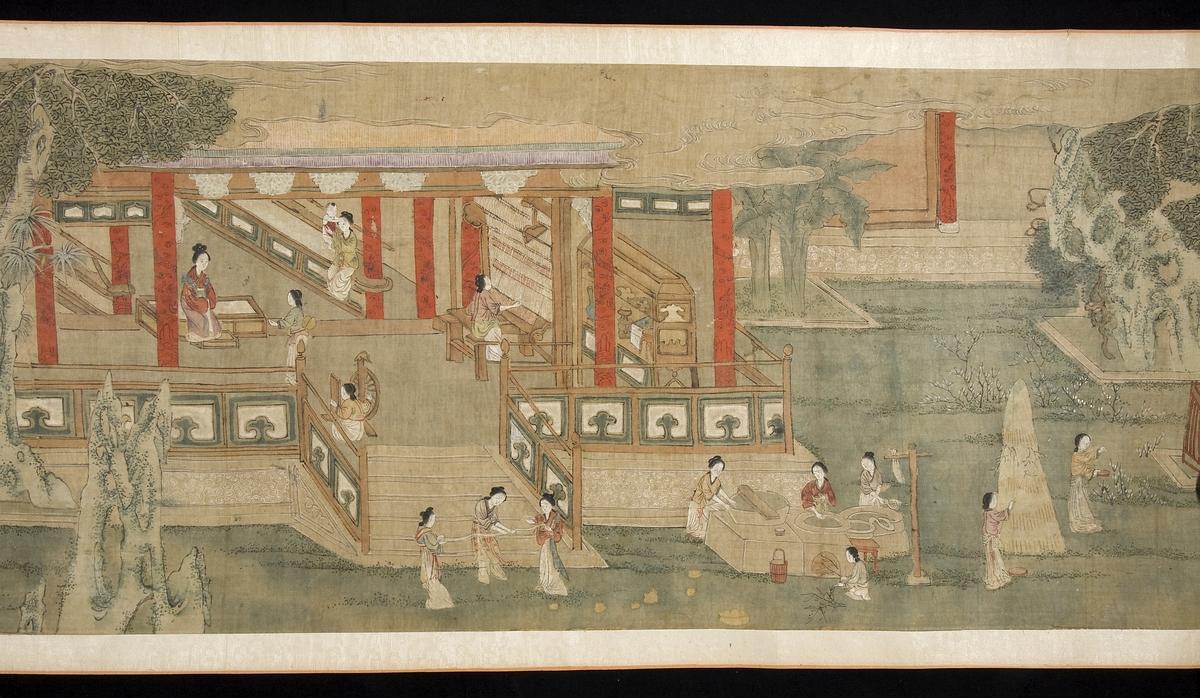 """Motivet visar olika skeden i silkesframställningen: plockning av kokonger, kokning, spinning, vävning och slutligen färgning av sidentyg.  På målningen finns även en eftertext, skriven av Wang Ao som var stadsminister i Kina under Mingdynastins senare del. I texten lovsjunger han den Kinesiska silkesindustrin. Wang Ao skriver: """"I hela landet fanns varken en flicka som inte sysslade med silkesmaskuppfödning eller någon plats utan silkesmaskuppfödning"""". Med målningen hoppas Wang Ao att denna traditionella industri förs in i historien som ett högt värderat och ärat jordbruk."""
