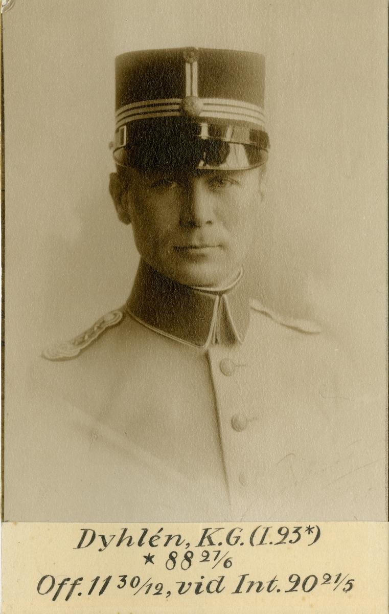 Porträtt av Karl Gunnar Dyhlén, officer vid Jämtlands fältjägarregemente I 24 och Intendenturkåren.