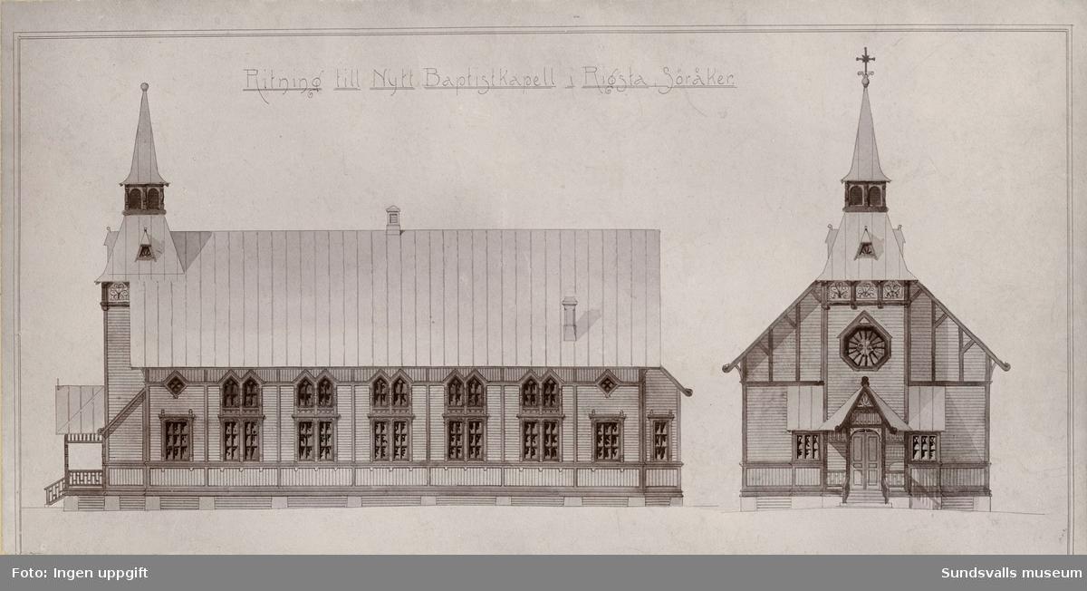 """Ritning. Baptistkapellet """"Ebeneser"""" i Söråker. """"Ritning till Nytt Baptistkapell i Rigsta, Söråker"""". Kapellet byggdes 1899 och finns fortfarande kvar (2016)."""