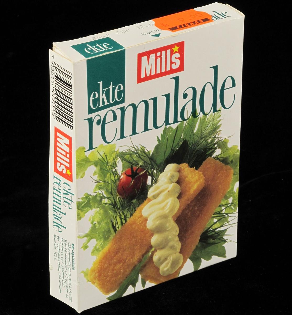 Fiskepinner og remulade, tomat, salat og dill.