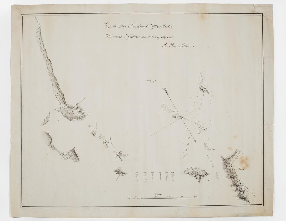 Karta över Svensksunds yttre redd. Kartan visar den svenska bevakningseskaderns och vrakens lägen en månad efter 2:a slaget vid Svensksund 1790.