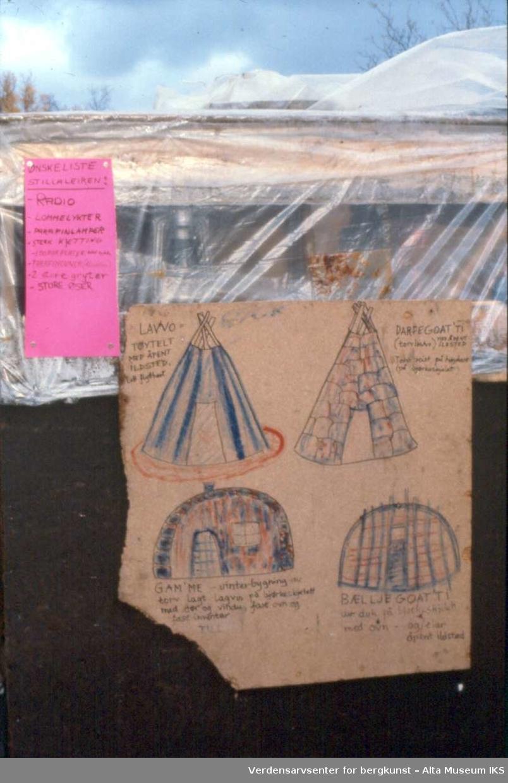 Altasaken. Tegning av lavvo og gamme. Plakat med ønskeliste for Stillaleiren. August 1979.