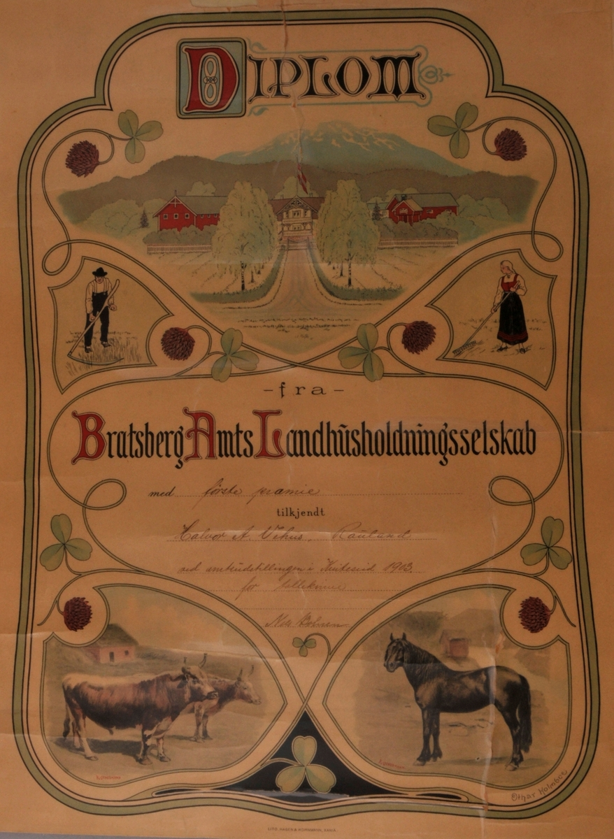 Til Halvor A. Vehus, Rauland: Tollekniver. Bratsberg Amts Landhusholdningsselskab, Kviteseid 1903.