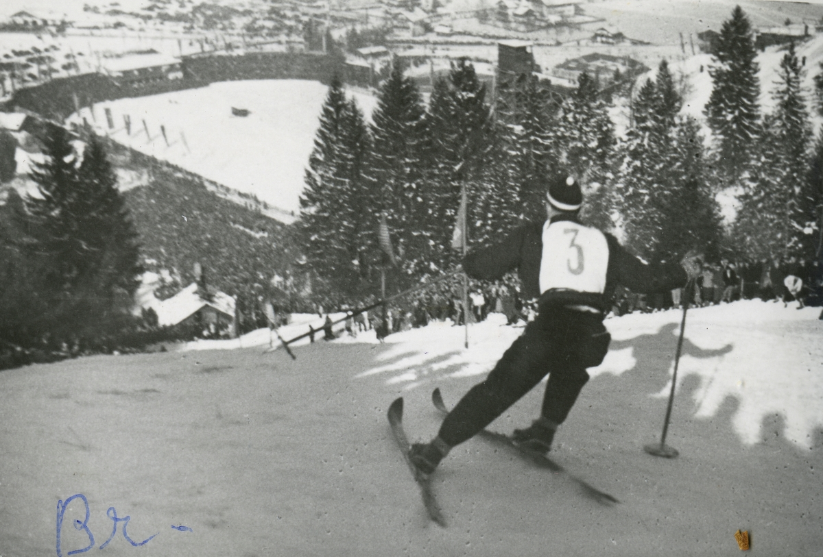 Norwegian skier Birger Ruud in downhill race at Garmisch