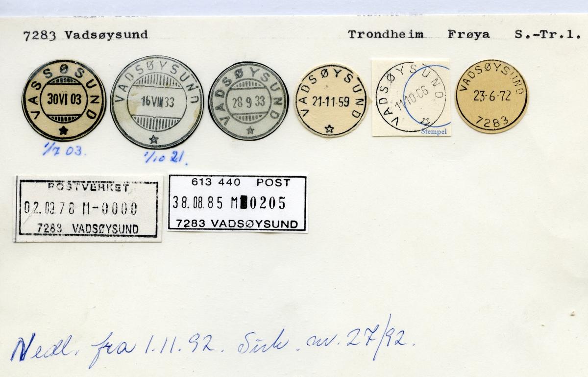 Stempelkatalog 7283 Vadsøysund (Vassøsund), Trondheim, Frøya, Sør-Trøndelag