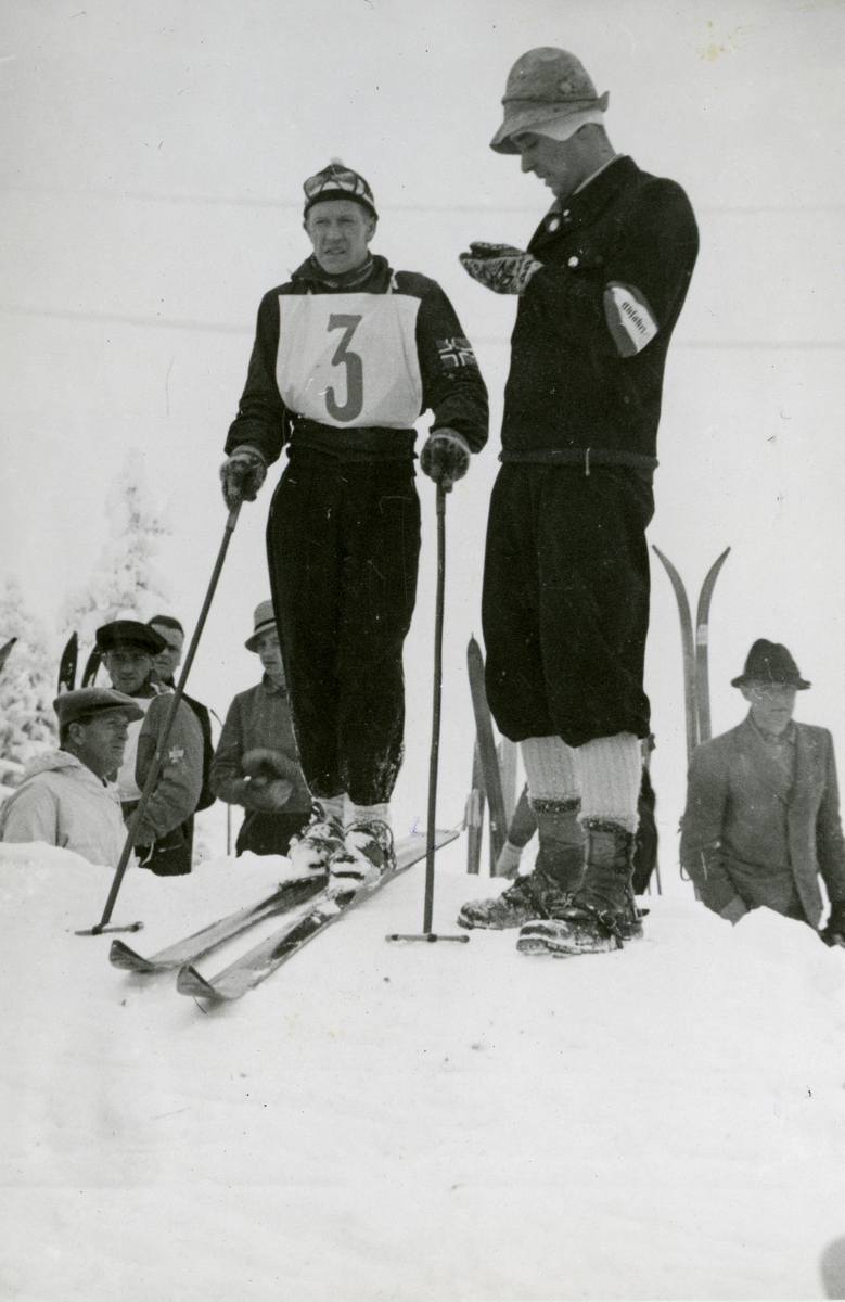 Norwegian skier Birger Ruud during downhill race at Garmisch