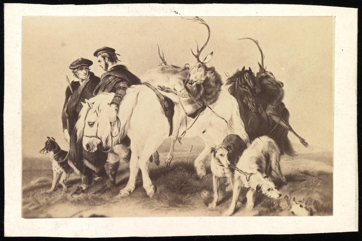 """Tegnet bilde av en jaktscene. To skotske jegere går med to hester og tre hunder. Begge heste har hver sin hjort bundet på ryggen. To av hundene er av rasen """"skotske hjortehunder""""."""