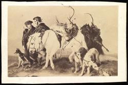 Tegnet bilde av en jaktscene. To skotske jegere går med to h