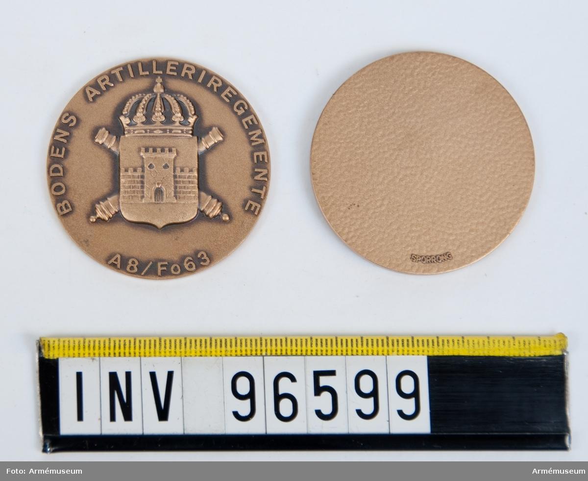 Medaljer i brons för Bodens artilleriregemente.