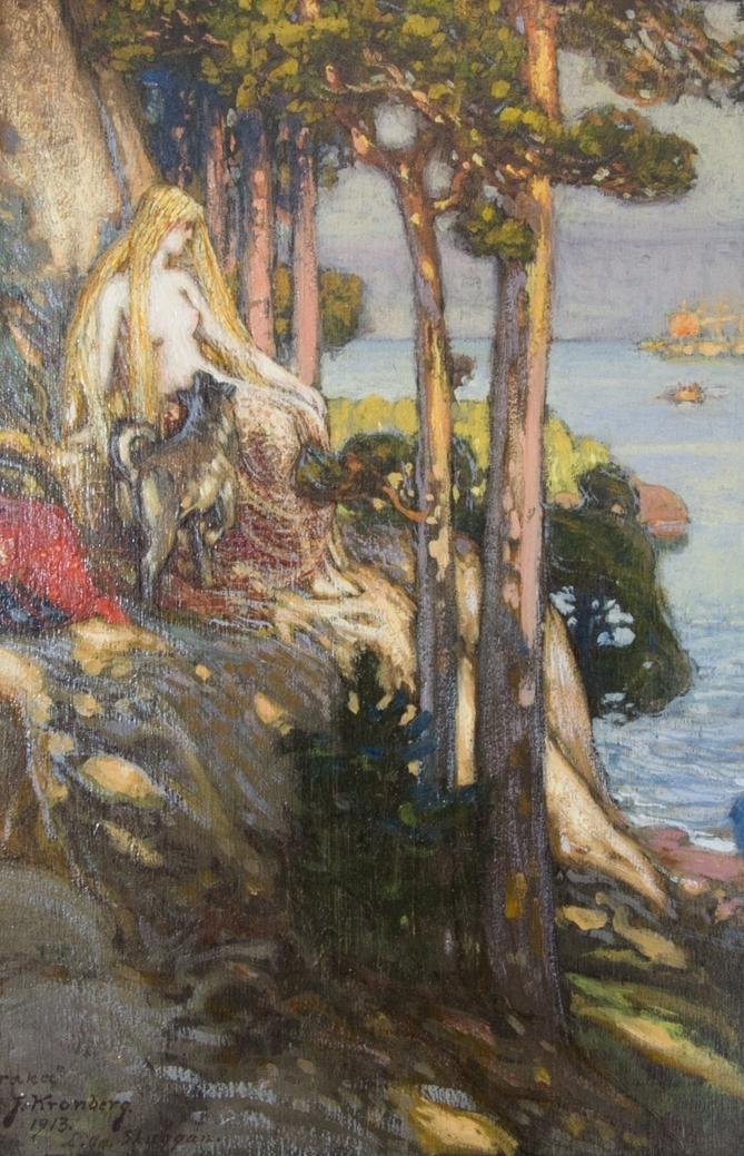 Kraka, i helfigur, delvis iklädd fisknät sittande på en klippa. Till vänster en hund. Omgiven av tallskog och i bakgrunden hav.