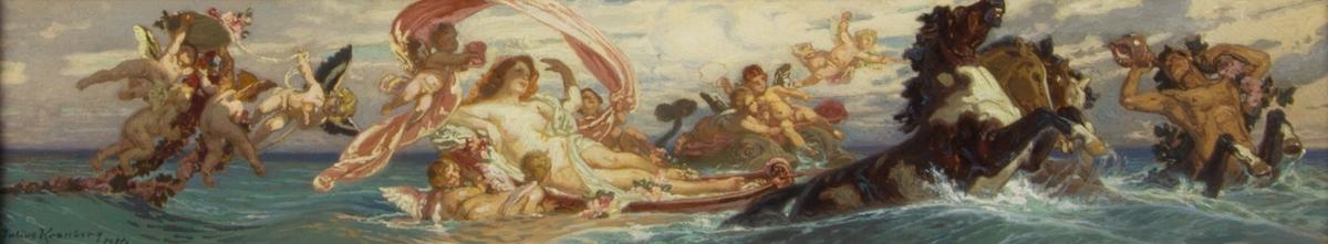 Venus sitter i en båt dragen av frustande hästar. Hon är omgiven av flera grupper av amoriner som bland annat håller i blomstergirlanger. Längst till höger en snäckblåsande triton.
