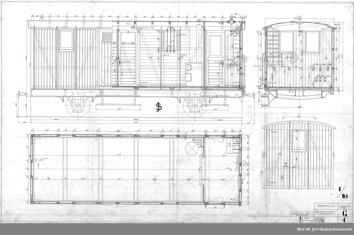 Godsvogn lit. Gf til Sulitjelmabanen (understill. G5)  G004 - Vognkasse G005 - Understilling