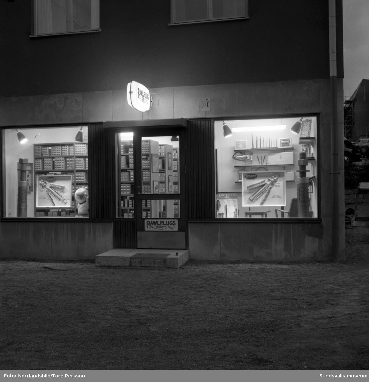 Rawlplugs AB, butik på Storgatan 45. Exteriör- och interiörbilder.