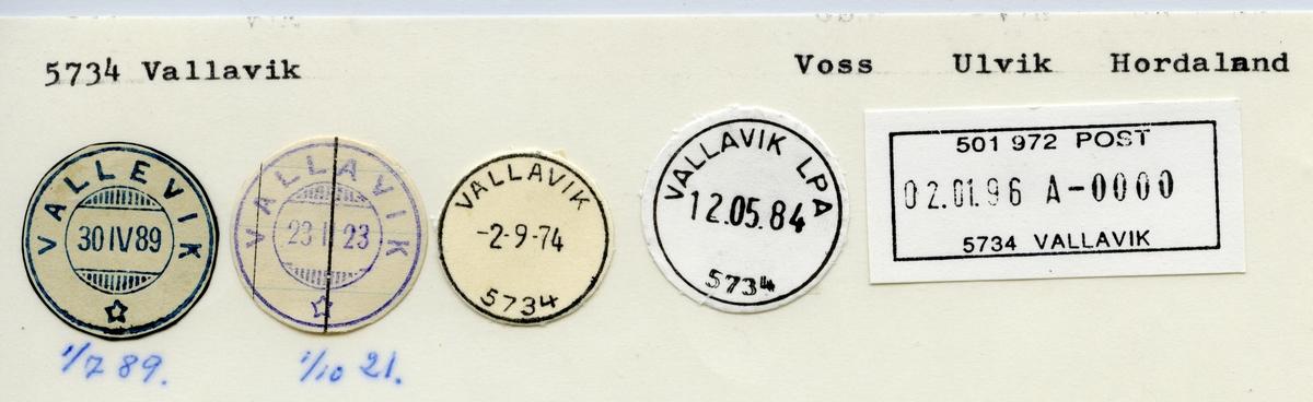 Stempelkatalog Vallavik (Vallevik), Voss, Ulvik, Hordaland