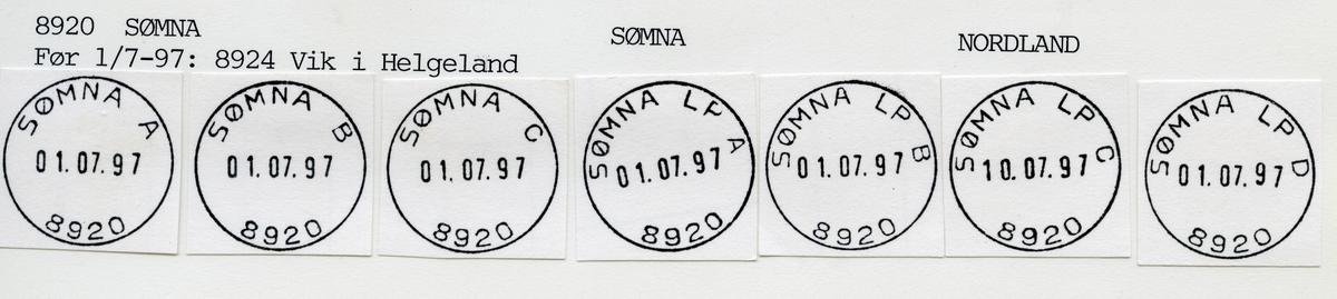 Stempelkatalog  8920 Sømna, Sømna kommune, Nordland (Før 1.7.1997 8924 Vik i Helgeland)