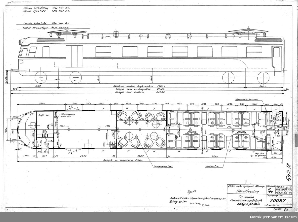 Elektrisk motorvognsett type 106, senere 66 20087: Hovedtegning motorvogn 20088: Hovedtegning mellomvogn 20089: Hovedtegning styrevogn