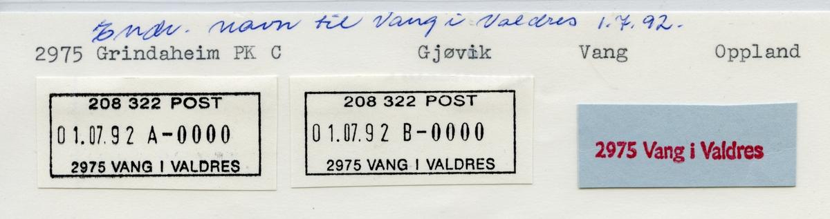 Stempelkatalog 2975 Vang i Valdres (Vang, Grindaheim), Gjøvik, Vang, Oppland