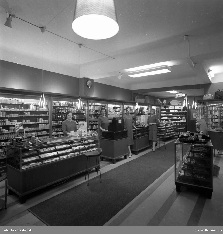 Strömbergs färghandel, interiörbilder från olika avdelningar i butiken.