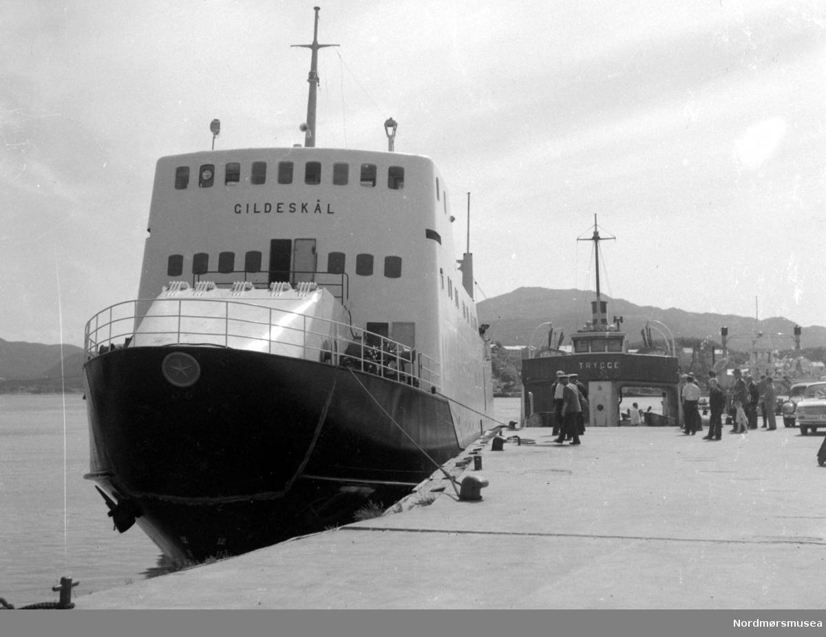 """På bildet ser vi, til venstre, bilfergen B/F"""";Gildeskål"""";, Storviks Mek. Verksteds bnr.18, fortøyd ved Nordmørskaia i Kristiansund. Ferga ble levert i 1963 til Salten Dampskipsselskap, Bodø. Gildeskål hadde følgende hoveddimensjoner: L 46,00 m x B 9,40 m x D 4,10 m og hadde en tonnasje på 463 bruttoregistertonn og hadde 2 dieselmotorer, hver på 625 hk. På høyre side av Gildeskål ser vi bilfergen B/F"""";Trygge"""";, Storviks Mek. Verksteds bnr.11 levert i 1938.  B/F""""Trygge"""" ble bygd for statlige midler i 1937-38 og var klinkbygget i stål.  Ferga hadde følgende hoveddimensjoner: L 93`2"""" x B 25`0"""" x D 10`6"""". Dette var den første bilferga som var bygd i stål i Møre og Romsdal. Ferga hadde en tonnasje på 136 bruttoregistertonn og var utstyrt med en Wichmann 300 BHK 2-takts 4-sylindret råoljemotor som ga ferga en fart på 10 knop. Den hadde en kapasitet på 14 personbiler og sertifikat for 260 passasjerer. Den ble leid av MRF og satt inn i ruten Kristiansund—Bremsnes, Kristvika, Kvernes, Gjemnes, og Torvikbukt.  Under krigen gikk den fra Torvika kl.08.00 og var i Kristiansund ca. kl. 10.00. Retur fra Kristiansund kl.16.00 og kom til Torvika ca. kl.18.00. Det var 4-5 tyske vakter om bord i tidsrommet 1940-45. Bilene måtte rygge om bord den gangen. I 1966 ble den solgt til et partsrederi ved Ingvald S. Vestre, Vestrefjord. Ferga ble ombygd og ominnredetog blant annet ble det store overbygget fjernet og erstattet av casing og styrhus på styrbord side. Det ble også innsatt ny hovedmotor på 460 BHK og den fikk navnet """"Vestra"""" og ble utleid til MRF for trafikk i det forlengede fergesambandet på Hjørundfjorden, der den gikk frem til 1982.  MRF leide ferga til etter at den ble solgt til et firma for transport av annleggsutstyr. Også etter dette skal den være brukt som bilferge.  Bildet er fra 1963. Kilde: Peter Storvik. Fra Nordmøre museums fotosamlinger."""