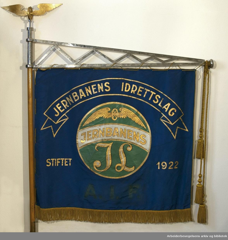 Jernbanens idrettslag.Stiftet 1922..Forside..Fanetekst: Jernbanens Idrettslag.Stiftet 1922