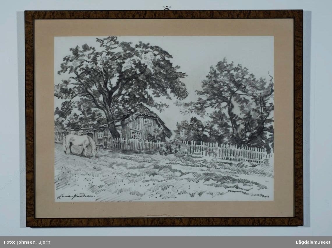 Motivet viser en beitende hest med et hus i bakgrunn.