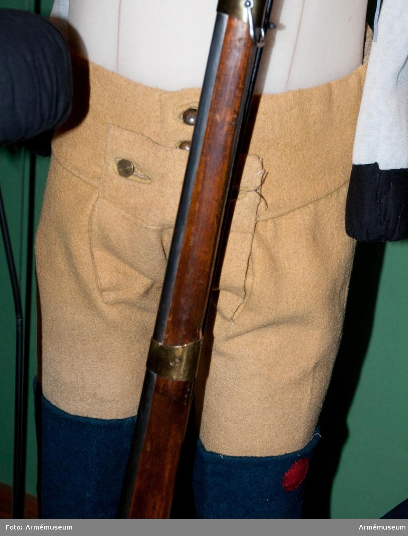 Grupp C I. Ur uniform 1765-79 för manskap vid Södermanlands regemente. Består av rock, väst, byxa, mössa, skor, halsduk, strumpor, patronkök, bandolärrem, livgehäng, skjorta. PUBL  AMV Med XXI, s 127.