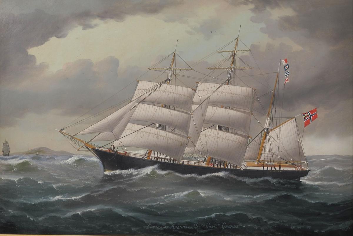 """Bark """"Europa"""" af Arendal,  Capt. Christian Grunde.  For lett  redusert seilføring, kurs mot venstre,  sort skrog,   norsk unionsflagg."""
