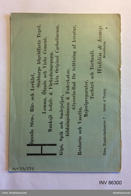 """Grupp MV.  Tryckt skrift """"Hvad är oxen värd? och Hvad kostar köttet?"""", Skövde 1896."""