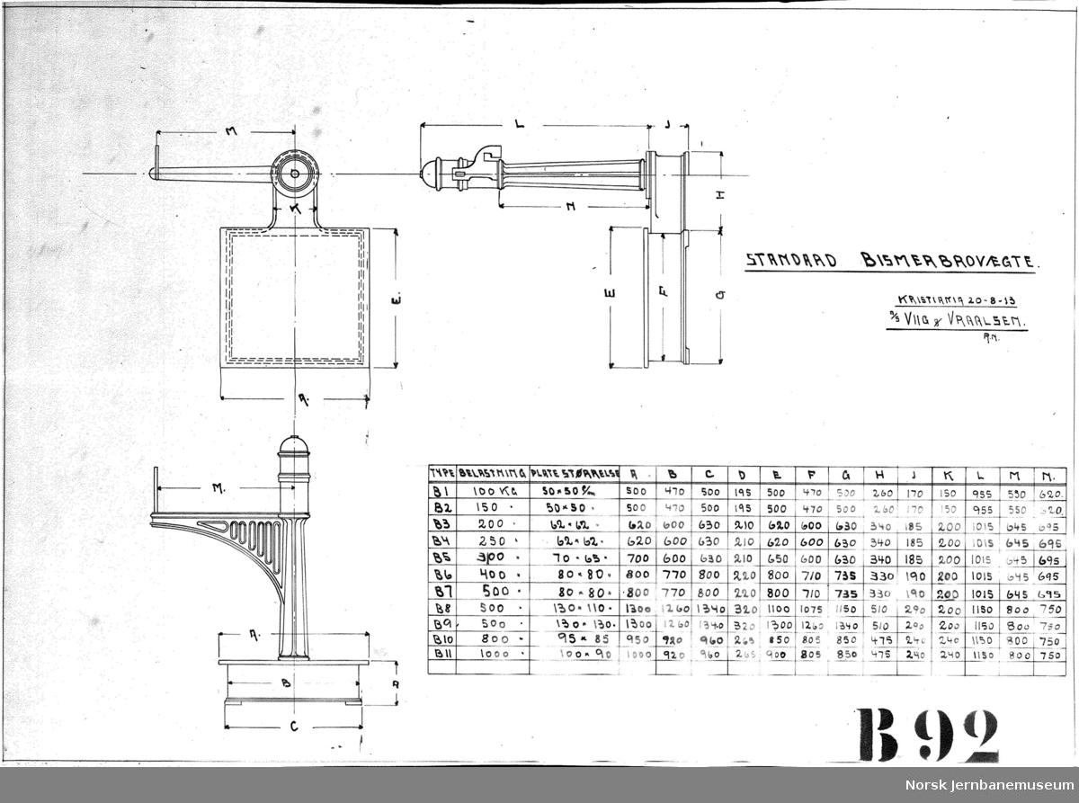 Standard bismerbrovægte A/S Viig & Vraalsen . tegning B92
