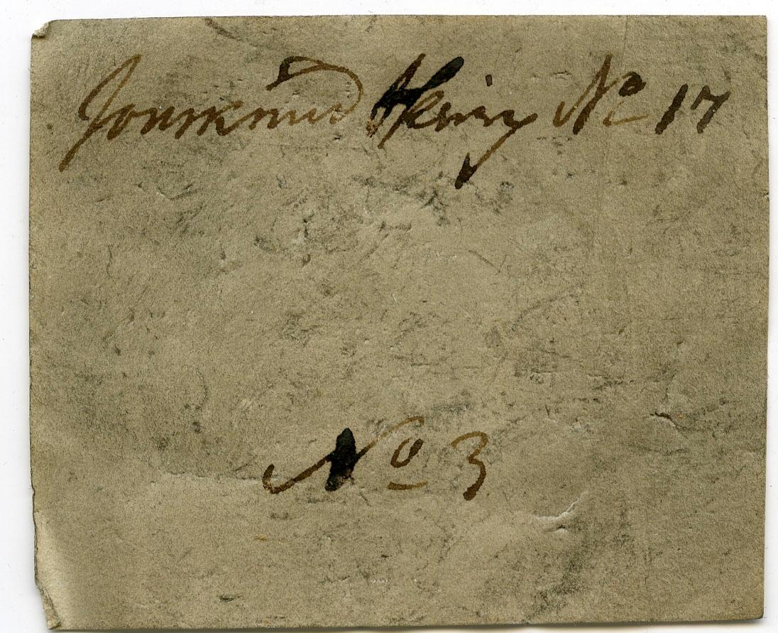 Etikett på prøve: Jonsknud Sk. No 17 N.3.  Etikett i eske: Jonsknud Skierp No. 17 No. 3