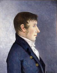 Portrett av Jørgen Aall.  Mann i profil, mørkt, kort hår, kinnskjegg  Mørk blå kledning med to knapper, hvit skjorte (Foto/Photo)