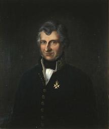Portrett av Wulfsberg. Grått hår, mørk uniform. Amtmannsuniform etter 1815. Orden festet på brystet. (Foto/Photo)