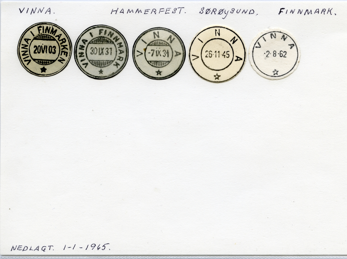 Stempelkatalog  Vinna, Sørøysund kommune, Finnmark