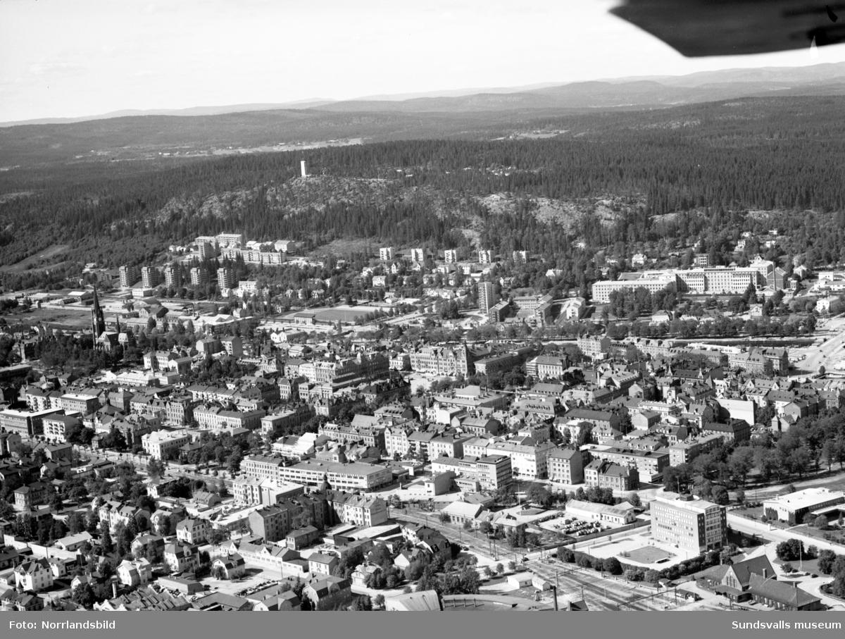 Flygfoto över Sundsvall taget från söder.