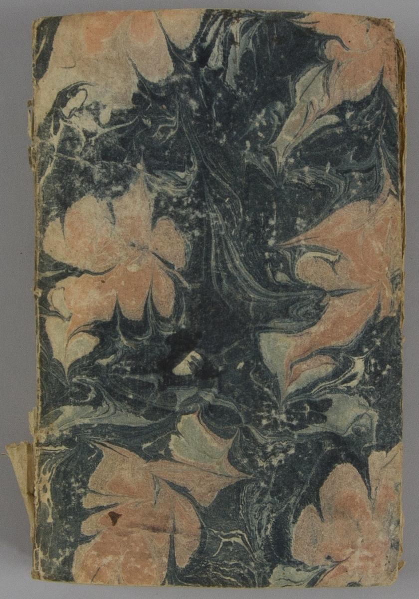 """Bok, pappband: """"Recueil historique d'actes, negocirarions, memoires et traitez."""", vol. XVIII:I, skriven av Jean de Missy Rousset.  Pärmen klädd i marmorerat papper, i vitt, rosa och svart. Med oskurna snitt."""