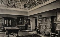 Postkort. Møbler og gjenstander i barokkstil. Utstilling NF.