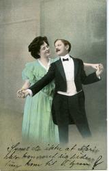 Postkort romatisk motiv med mann og kvinne danser.