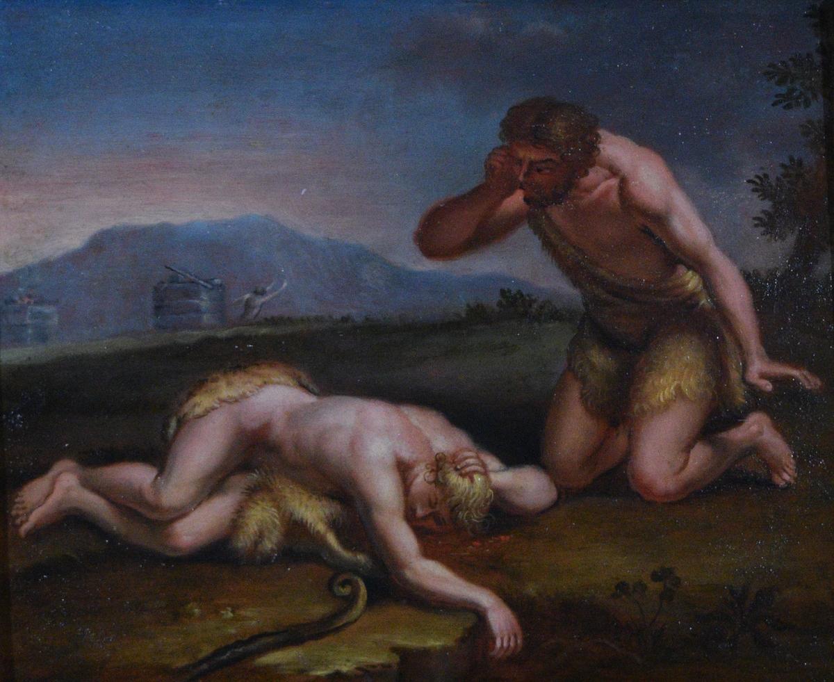 Bildet viser to menn kledd i skinn. Den ene ligger sovende på bakken med en hyrdestav ved siden av seg. Til høyre for ham står den andre på kne. Sistnevnte ser sint ut og holder høyre hånd opp mot tinningen. I bakgrunnen er det to oppmurte konstruksjoner (altere?) den ene med ild på, den andre uten. Fra det ene ser man overkroppen på en mann som med løftede armer løper vekk.  Motivet tolkes som Adam sørger over den døde Abel. Adam sees til høyre, Abel liggende på jorden foran ham. Alteret med ild representerer Abels ofring (1. Mos. 4,4-5); det andre er Kains alter. Den fjerne flyktende skikkelsen er Kain.