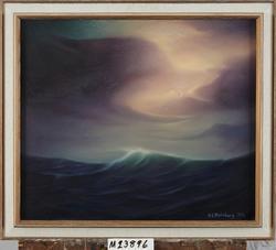 Stormafton på Nordsjön [Oljemålning]