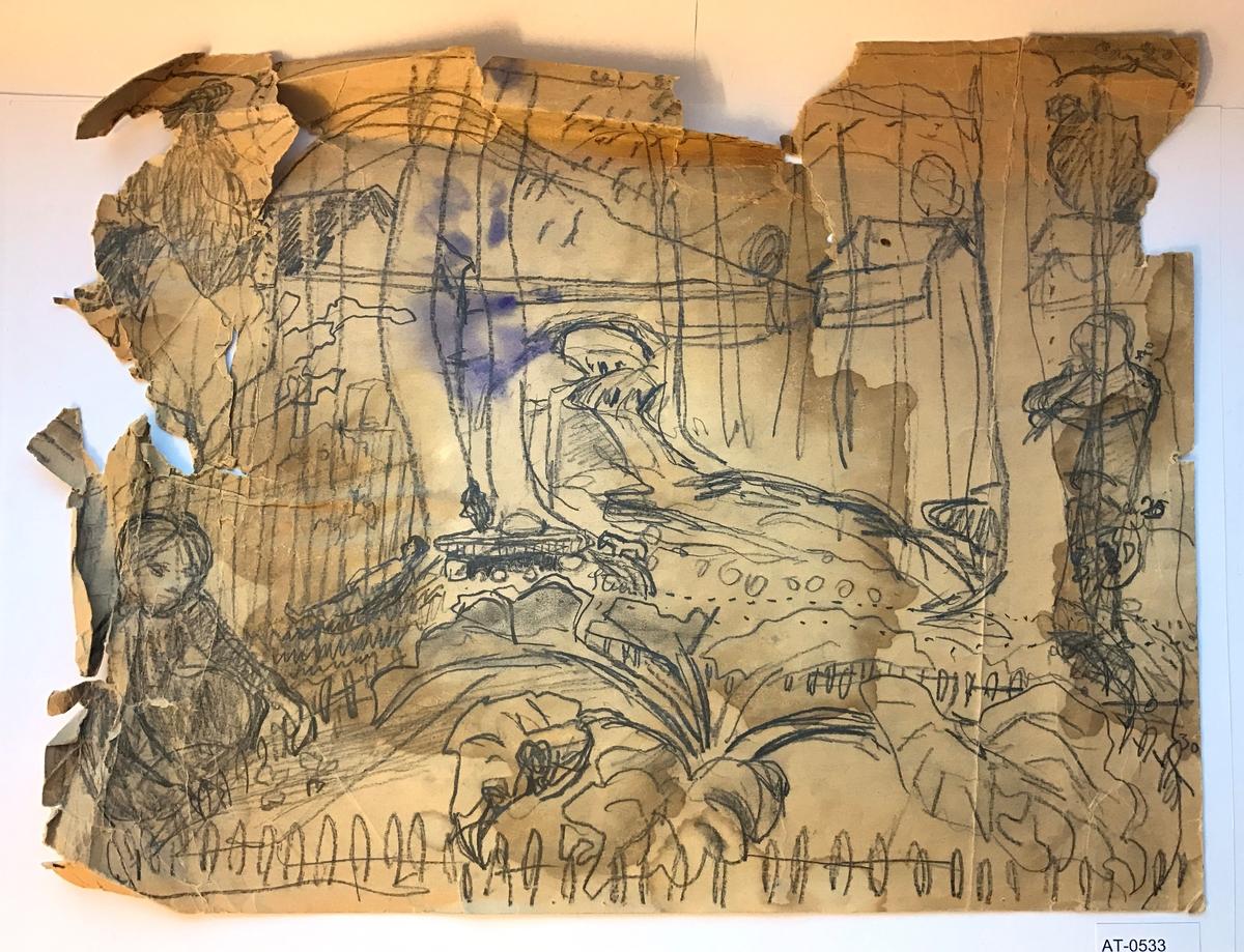 Einsidig skisse. Teikna på innsida av eit julehefte omslag? Landskap med jente som luker, gut som speler fløyte, hus, trær, fjell, rabarbra. Liknar mykje på Bjørketrær, 1924.