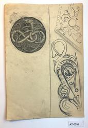 Studie av slyngende drage og to plantedekorer [Tegning]