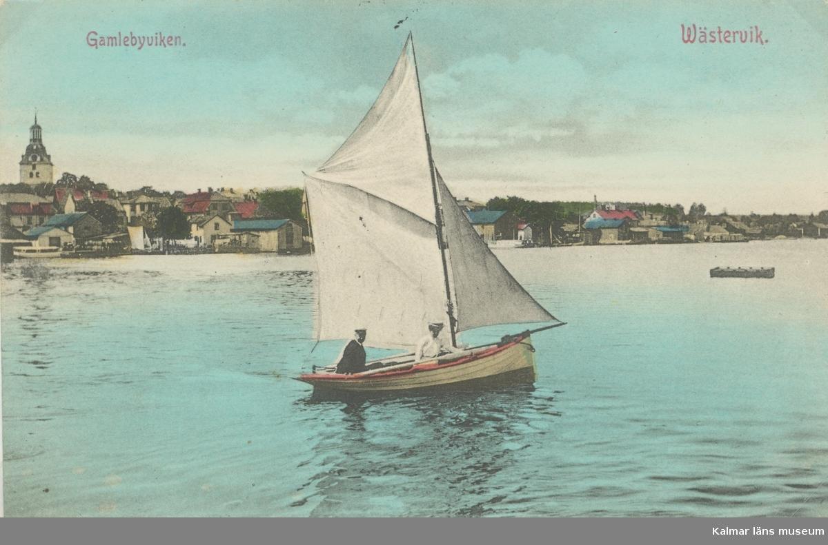 Ett vykort med motiv från Gamlebyviken.