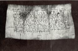 Gammalt pergament med handskrift med anknytning till Gamleby