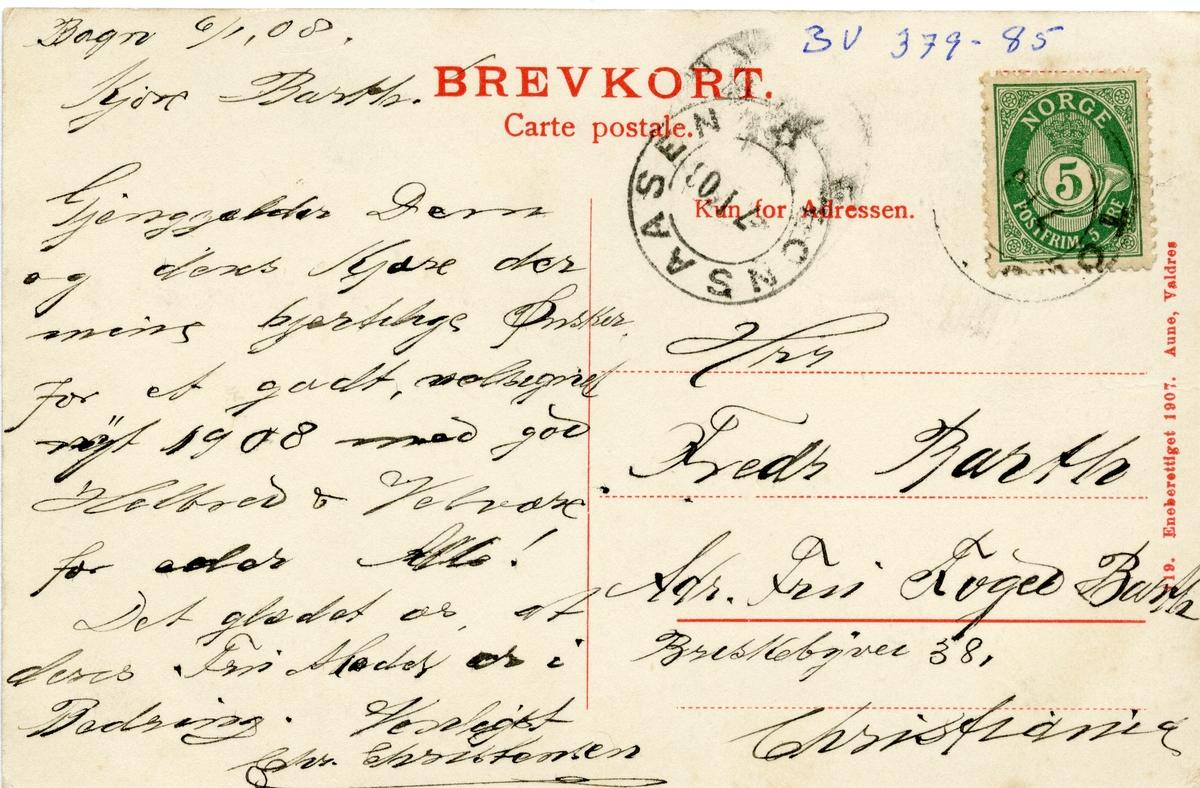 Postkort med motiv fra Sparkevik mot Bagn sentrum, Sør-Aurdal. Kortet er sendt 07.01.1908