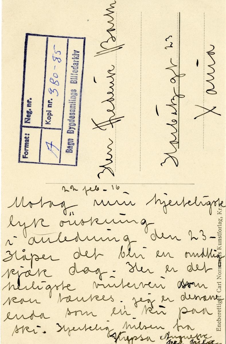 Postkort med motiv fra Østre Bagn